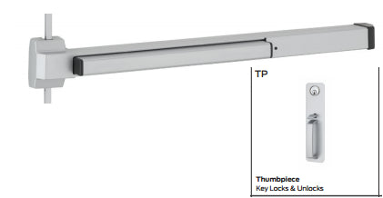 Von Duprin 2227TP, 2227TP-Fire Rated Surface Verticle Rod Exit Device Von Duprin 22 Series