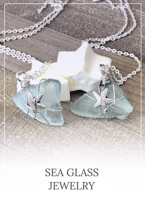 Teal blue green sea glass necklace - Hand Stamped Trinkets