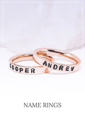 mixed metal stackable name rings