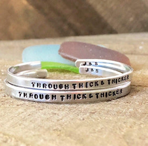 Hand Stamped Trinkets Bracelet Best Friend Bracelets - Through Thick and Thicker