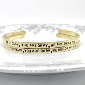 Hand Stamped Trinkets Bracelet Custom Brass Cuff Bracelet {Personalized By You}