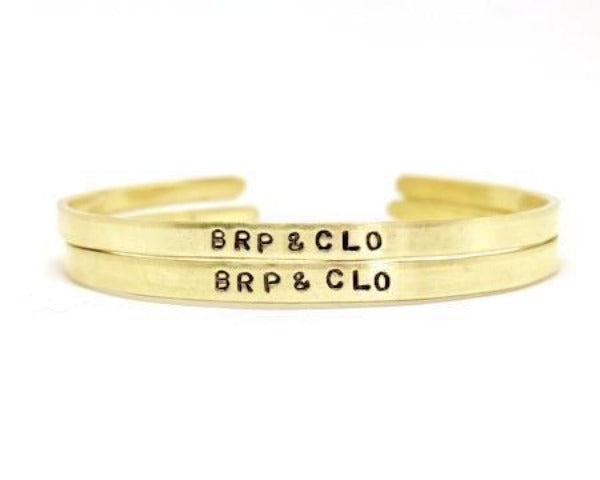 Hand Stamped Trinkets Bracelet Customized Couple Bracelets - Personalized Golden Bangle Cuffs