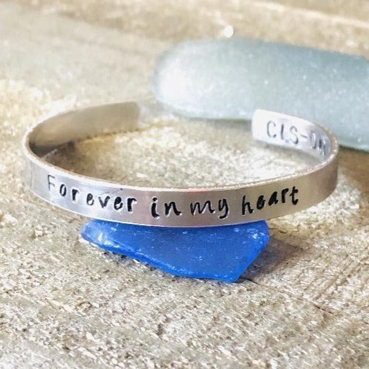 Hand Stamped Trinkets Bracelet Forever in My Heart Bracelet - Sympathy gift for loss of loved one