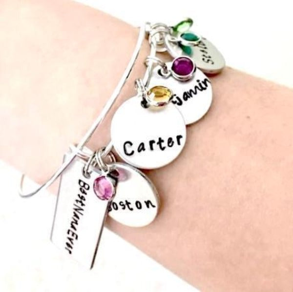 Hand Stamped Trinkets Bracelet Grandma Bracelet with Birthstones and Grandkids Names