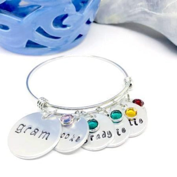 Hand Stamped Trinkets Bracelet Grandmother Charm Bracelet with Names and Birthstones