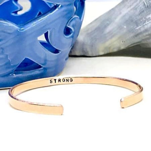 Hand Stamped Trinkets Bracelet Hidden Message Bracelet | Strength Bracelet | Stay Strong Bracelet