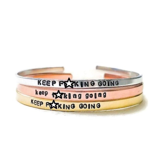 Hand Stamped Trinkets Bracelet Keep Going Inspirational Bracelet
