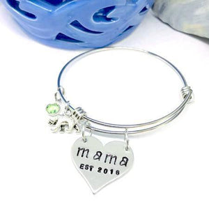 Hand Stamped Trinkets Bracelet Mama Bear Bracelet with Bear Charm and Birthstone