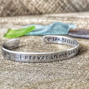 Hand Stamped Trinkets Bracelet Miscarriage Gifts Loss of Child - Forever In My Heart Jewelry
