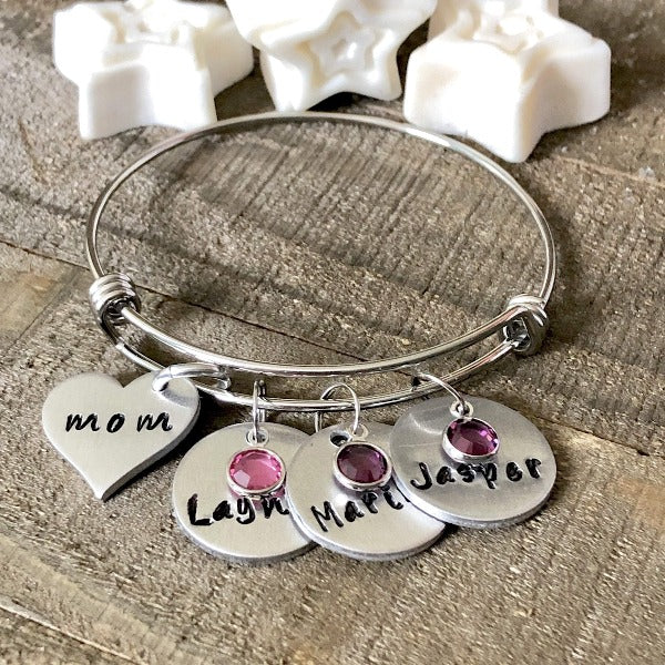 Hand Stamped Trinkets Bracelet Mothers Bracelet with Names and Birthstones