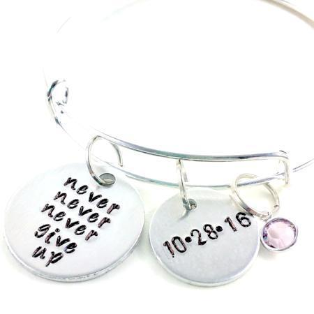 Hand Stamped Trinkets Bracelet Never Give Up Bracelet, Personalized