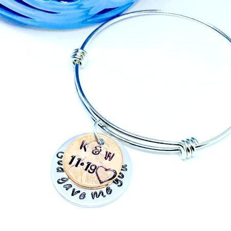 Hand Stamped Trinkets Bracelet Personalized God Gave Me You Bracelet - Adjustable Charm Bangle
