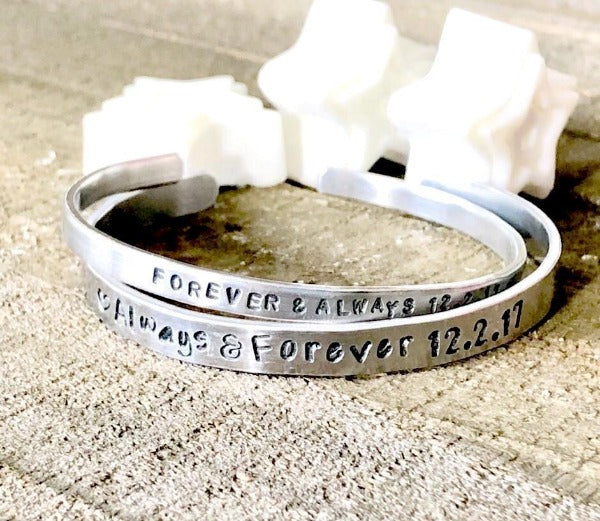 Hand Stamped Trinkets Bracelet Personalized Quote Bracelets With Sayings | Statement Jewelry