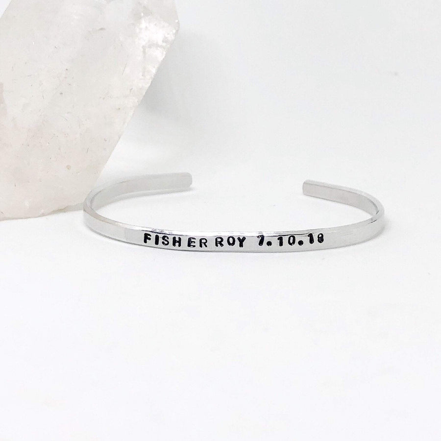 Hand Stamped Trinkets Bracelet Personalized Stackable Silver Name Bracelet Cuff