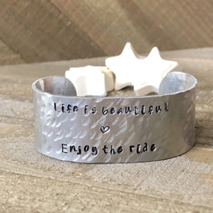 Hand Stamped Trinkets Bracelet Personalized Wide Silver Cuff Hammered Bracelet - Boho Arm Cuff