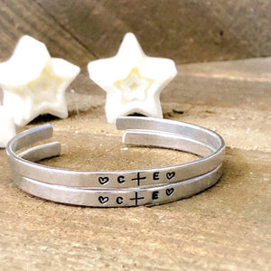 Hand Stamped Trinkets Bracelet Relationship Bracelets for Couples • Matching His and Hers