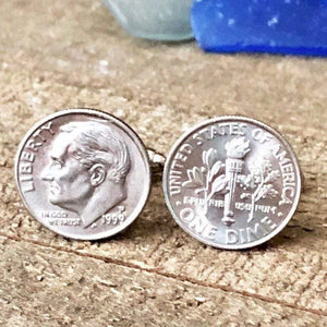 USA Coin Cufflinks for Anniversary Men's Accessories - Hand Stamped Trinkets