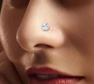 Hand Stamped Trinkets Fake Nose Stud - 7mm CZ Cubic Zirconia Crystal