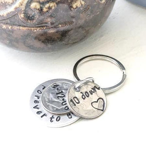 Hand Stamped Trinkets Keychain 10 Year Anniversary Gift Personalized