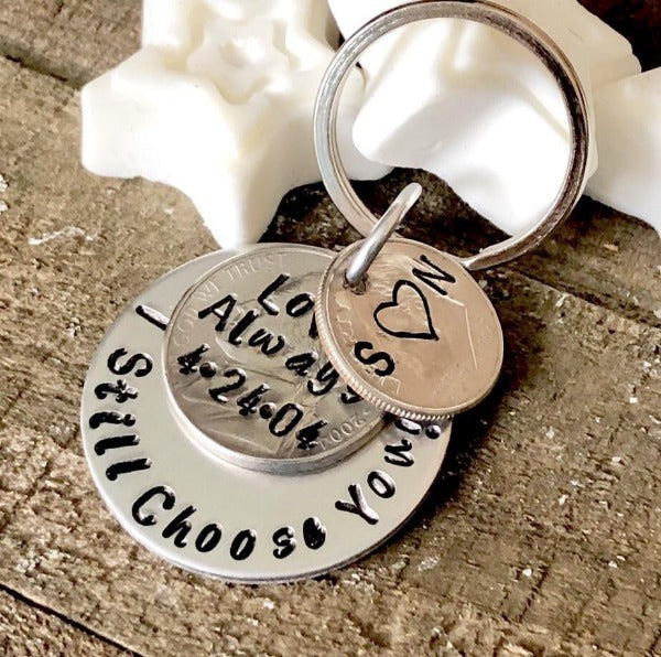 Hand Stamped Trinkets Keychain 15th Anniversary Gift For Couples, Personalized
