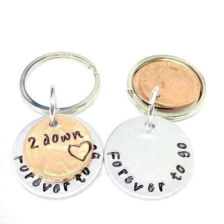 Hand Stamped Trinkets Keychain 2 Year Dating Anniversary Gift Ideas For Him or For Her - Personalized