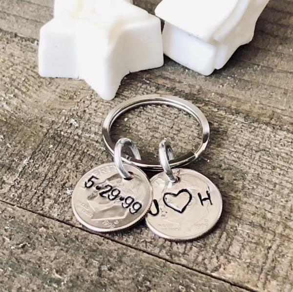 Hand Stamped Trinkets Keychain 20th Anniversary Gifts for Her - Gifts for Husband
