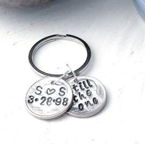Hand Stamped Trinkets Keychain 20th Wedding Anniversary Gift, One or Matching Set Of Two