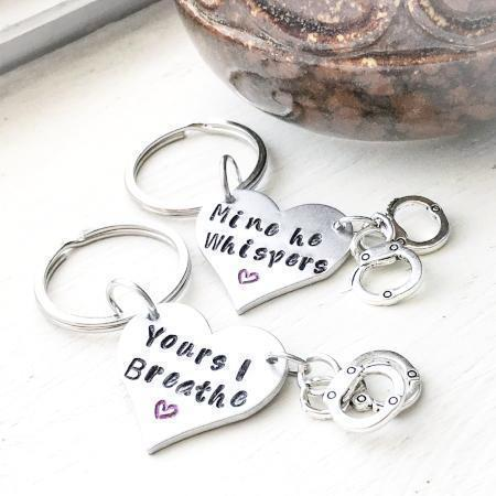 Hand Stamped Trinkets Keychain BDSM Jewelry - Handcuff  Key Ring, Necklace or Bracelet Sets