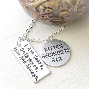 Hand Stamped Trinkets Keychain BDSM Jewelry - I Am Yours Necklace, Bracelet or Key Ring