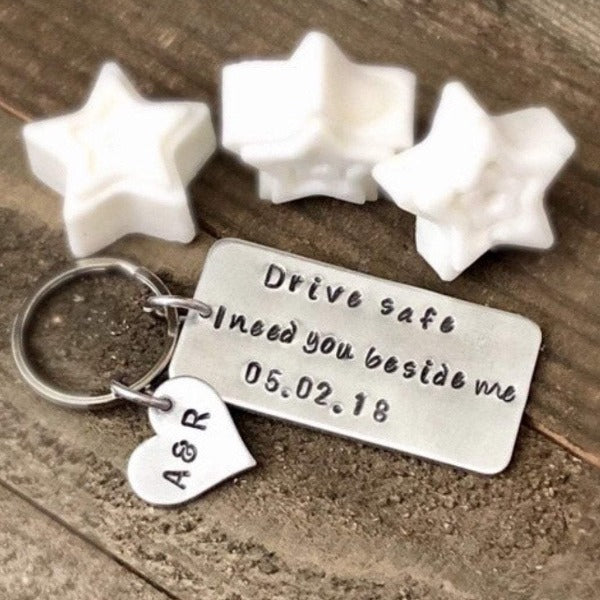 Hand Stamped Trinkets Keychain Drive Safe I need You Beside Me Key Ring