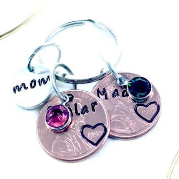 Hand Stamped Trinkets Keychain Engraved Coin Jewelry for Mom Mother's Day