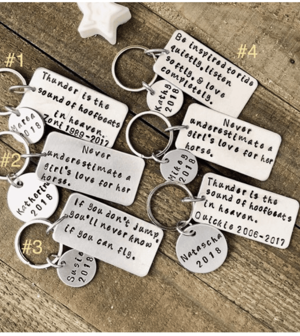 Hand Stamped Trinkets Keychain Equestrian Gifts for Her | Personalized Horse Quote Keychain