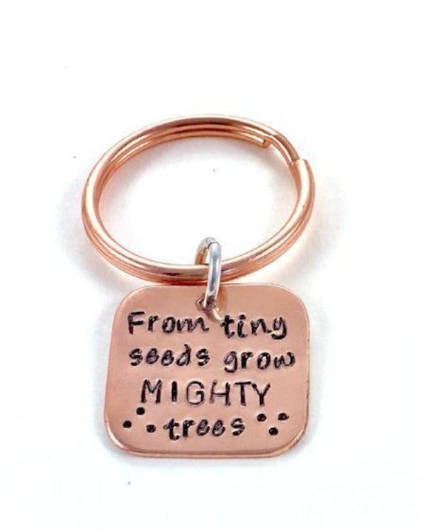 Hand Stamped Trinkets Keychain From Tiny Seeds Grow Mighty Trees Teacher Gift