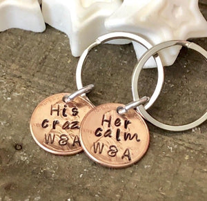 Hand Stamped Trinkets Keychain His Crazy Her Calm Couples Anniversary Keychains
