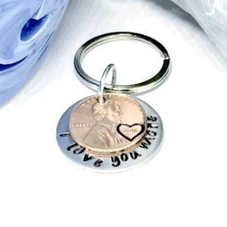 Hand Stamped Trinkets Keychain Long Distance Relationship Gifts Ideas for Boyfriend