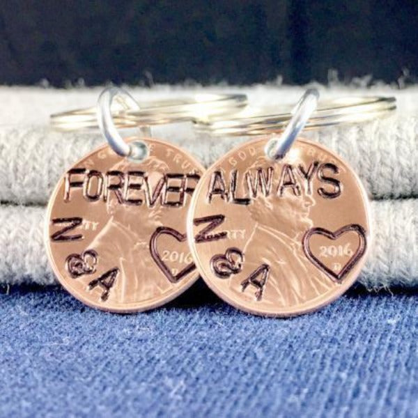 Hand Stamped Trinkets Keychain Matching Couple Accessories - Forever and Always Key Ring Set