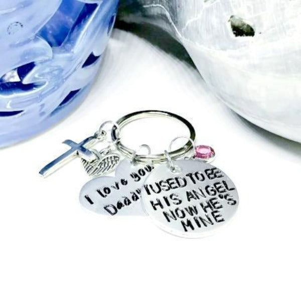 Hand Stamped Trinkets Keychain Memorial Jewelry For Loss Of Father, Personalized Sympathy Gifts