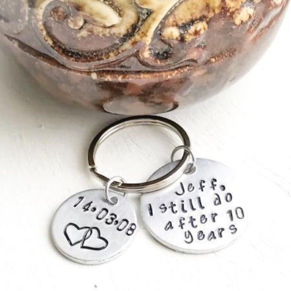 Hand Stamped Trinkets Keychain Modern Anniversary Gifts - Personalized Date and Name