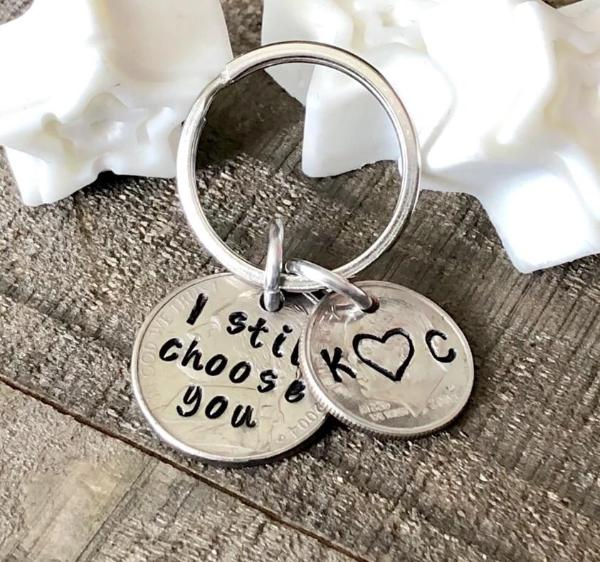 Hand Stamped Trinkets Keychain Personalized 15 Year Anniversary Gifts - Husband Wife