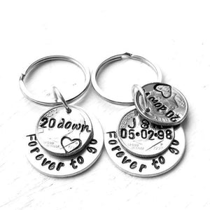 Hand Stamped Trinkets Keychain Personalized 20th Anniversary Couples Gift Idea