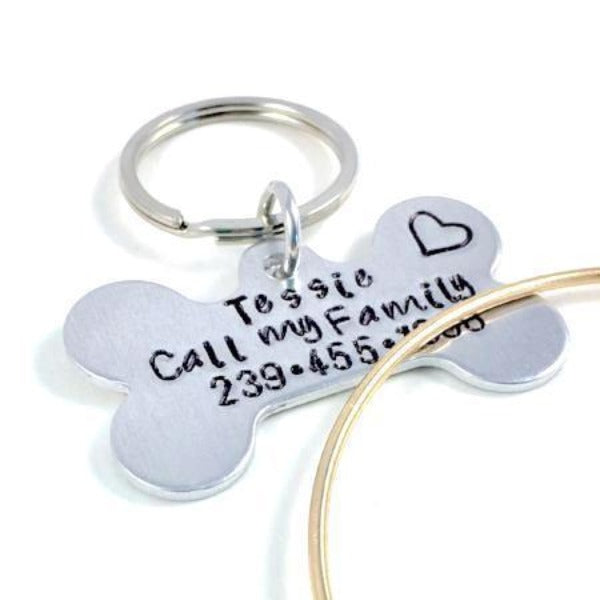 Hand Stamped Trinkets Keychain Personalized Bone Shaped Dog Tags