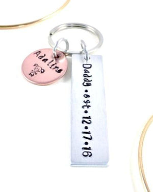Hand Stamped Trinkets Keychain Personalized Gift for New Dads that is Meaningful and Thoughtful