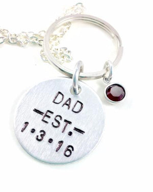 Hand Stamped Trinkets Keychain Personalized Gifts For Dad for Father's Day