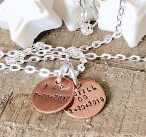 Hand Stamped Trinkets Keychain Personalized I Still Do Copper Anniversary Keychain