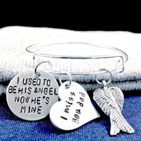 Hand Stamped Trinkets Keychain Personalized In Loving Memory Gifts - Sympathy Gift Loss of Father