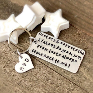 Hand Stamped Trinkets Keychain Personalized Police Officer Gift | Law Enforcement - Any Branch