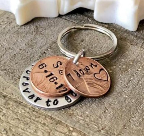 Hand Stamped Trinkets Keychain Romantic Copper Gifts for Anniversary