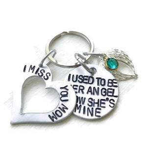 Hand Stamped Trinkets Keychain Sympathy Gifts For Loss Of Mother, In Memory Of Jewelry