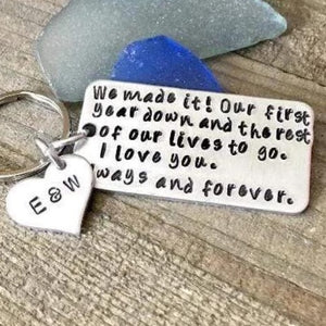 Hand Stamped Trinkets Keychain Wedding Anniversary Gifts, Personalized For Him Or Her