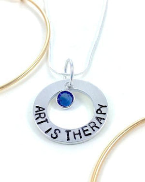 Hand Stamped Trinkets Necklace Art Is Therapy Teacher Gift with Birthstone